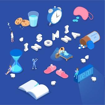 Sufriendo del concepto de insomnio. no hay problema para dormir por la noche. acostado cansado en la cama y sintiéndome exhausto. depresión del insomnio. ilustración isométrica