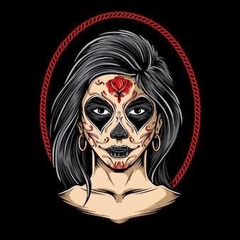 Sugar skull girl arte vectorial