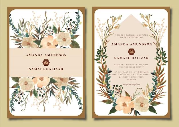Suite de invitación de boda con acuarela floral rústica