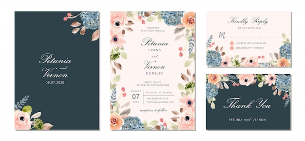 Suite de invitación de boda con bonita flor acuarela