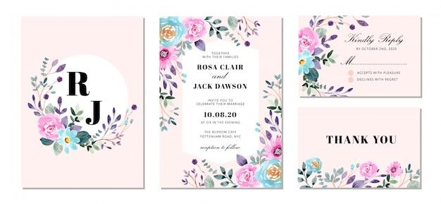 Suite de invitación de boda con dulce acuarela floral