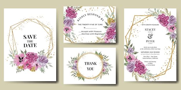 Suite de invitación de boda con flor rosa y marco dorado acuarela