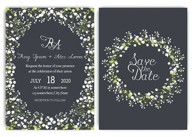 Suite de invitación de boda con flores de margarita.