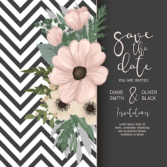 Suite de invitación de boda con flores. modelo. ilustración vectorial