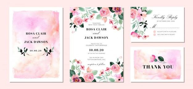 Suite de invitación de boda con fondo floral y abstracto acuarela