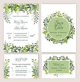 Suite de invitación de boda greenery imprimible.
