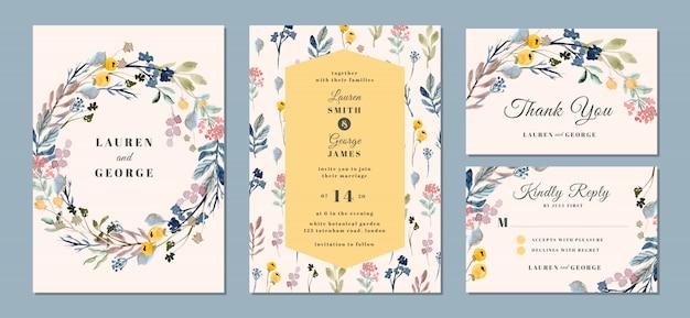 Suite de invitación de boda con hermoso fondo floral acuarela