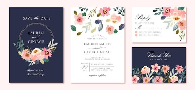 Suite de invitación de boda con hermoso jardín de flores acuarela
