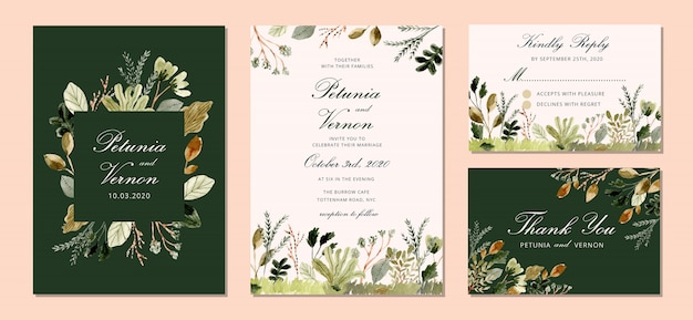 Suite de invitación de boda con hojas jardín acuarela