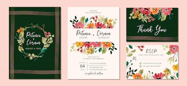 Suite de invitación de boda con jardín floral acuarela