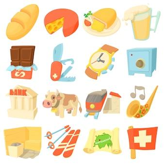 Suiza itravel iconos conjunto