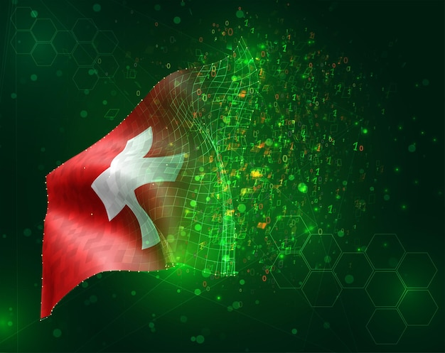 Suiza, vector bandera 3d sobre fondo verde con polígonos y números de datos