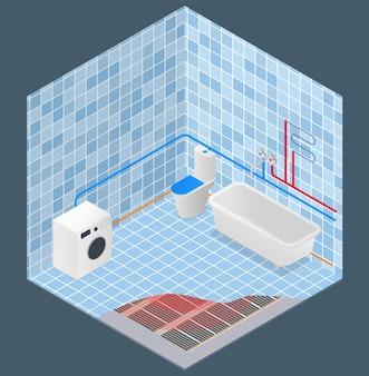 Suministro de agua de baño y esquema de calefacción isométrico