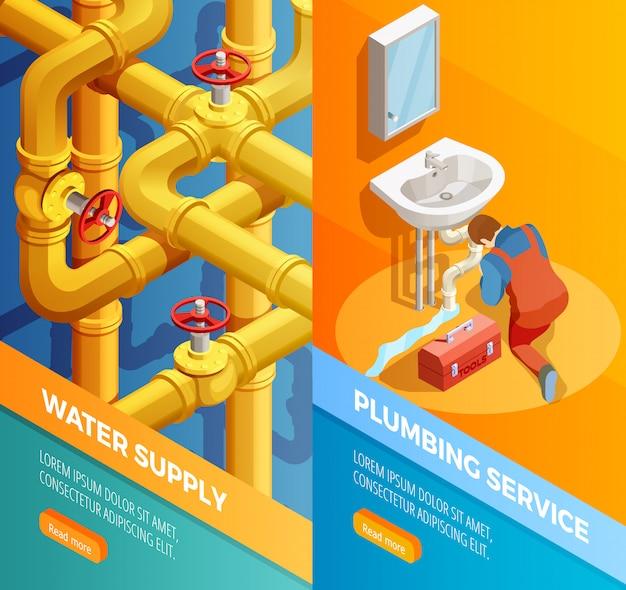 Suministro de agua servicio de fontanería banners isoméricos