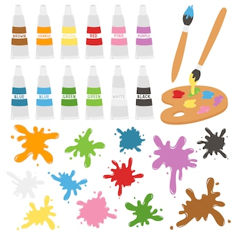 Suministros de arte y pintura conjunto de vectores