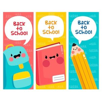 Suministros con caras concepto de regreso a la escuela