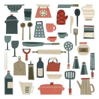 Suministros de cocina dibujados a mano