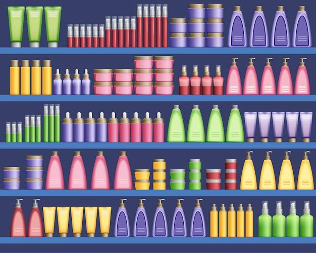 Suministros de cosmética en el supermercado.
