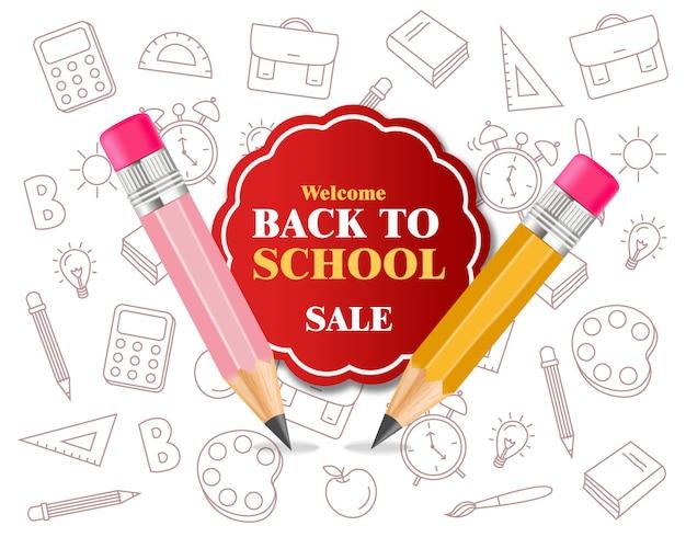 Suministros de crayones de regreso a la escuela