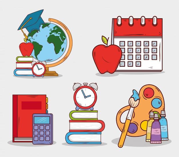 Suministros de educación, conjunto de iconos