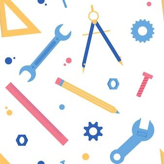 Suministros de ingeniería de patrones sin fisuras. herramientas de dibujo mecánicas.