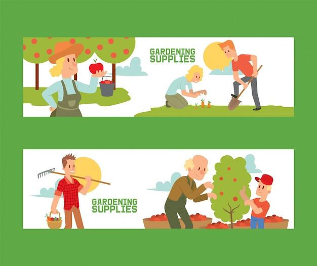 Suministros de jardinería conjunto de pancartas equipo para terrenos como rastrillo, pala, cubo. agricultor recogiendo la cosecha de manzanas.