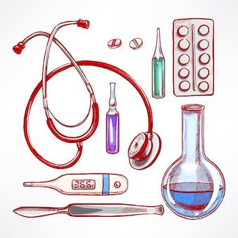 Con suministros médicos de boceto. bisturí, estetoscopio, bulbo. ilustración dibujada a mano