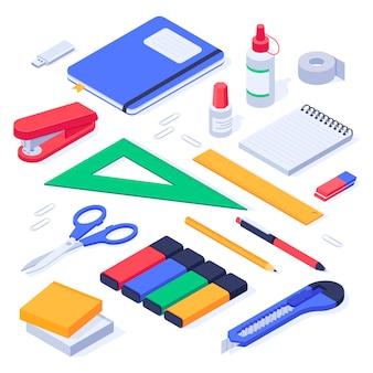 Suministros de oficina isométricos. set de útiles escolares de papelería, borrador de lápiz y bolígrafos