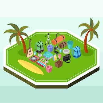 Suministros de picnic isométricos