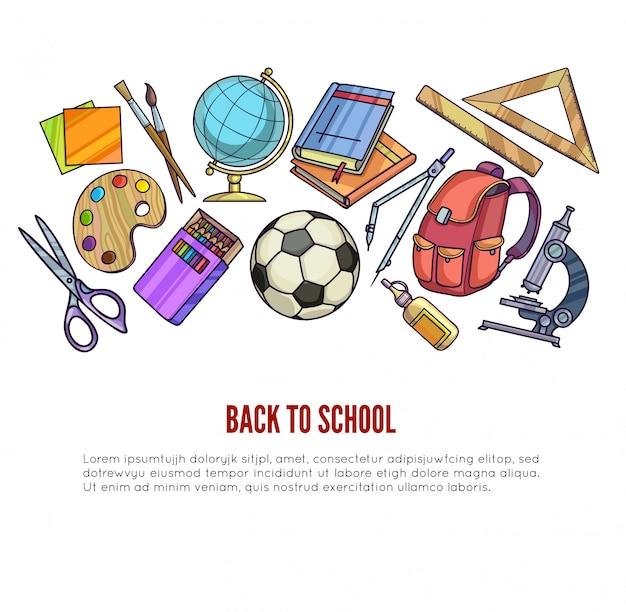 Suministros de regreso a la escuela y equipo de aprendizaje.