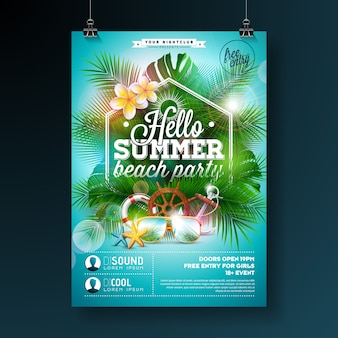 Summer beach party flyer design con flores y gafas de sol sobre fondo azul