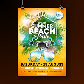 Summer beach party flyer design con flores y gafas de sol.