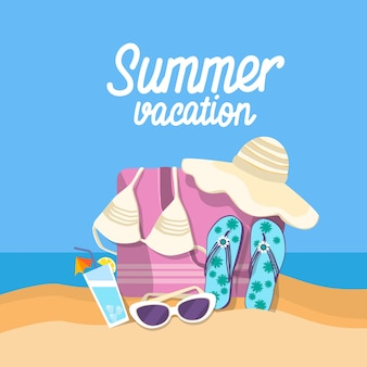 Summer beach vacation set sand tropical banner