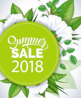 Summer sale 2018 lettering. ronda brillante con inscripción y flores