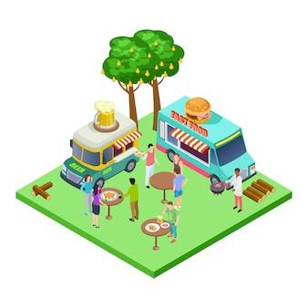 Summer street cafe, fiesta de barbacoa, picnic en el parque, ubicación isométrica