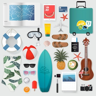 Summer stuff set collection illustration
