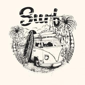 Summer surfing vintage handrawn
