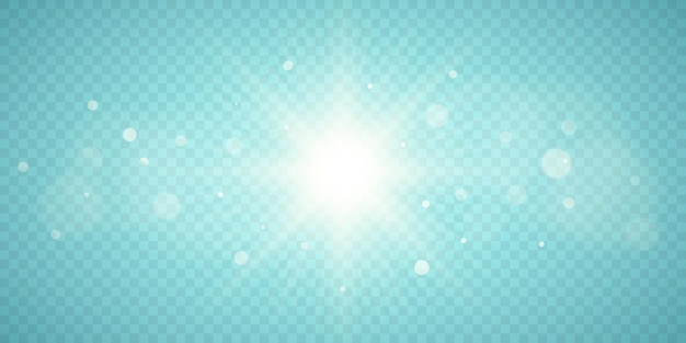 Sunburst aislado sobre fondo transparente. sol con bokeh. efecto de luz. ilustración vectorial