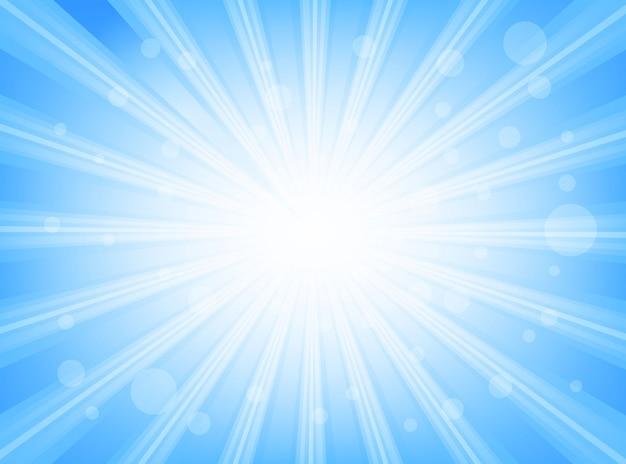 Sunburst azul brillante con brillantes rayos de luz resumen de antecedentes