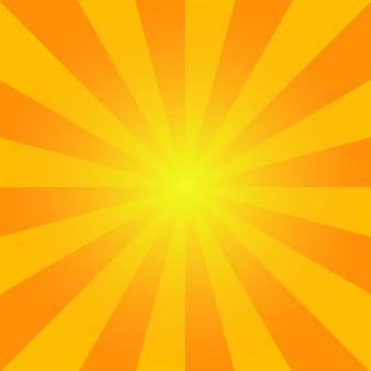 Sunburst de verano. fondo rayos de color naranja brillante fondo