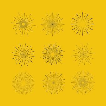 Sunbursts sobre fondo amarillo elementos de diseño tribal boho gold sunburst frame starburst hipster logo línea arte vector ilustración de fuegos artificiales