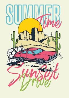Sunset drive muscle car en la montaña y el desierto con el fondo de la puesta del sol en la ilustración retro del estilo de los años 80