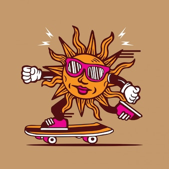 Sunshine funky skateboarding diseño de personajes