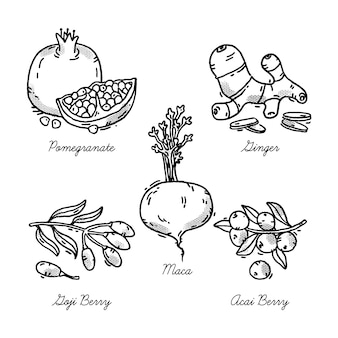Súper alimento en blanco y negro para la salud y la dieta.