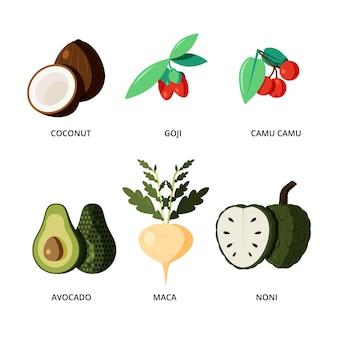 Super alimentos vegetales y frutas aisladas sobre fondo blanco.