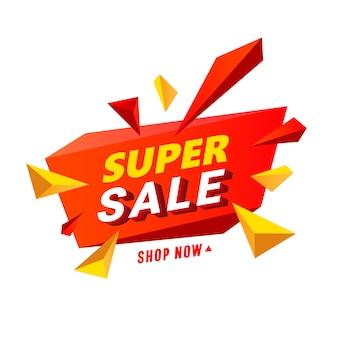 Super banner de venta con elementos poligonales multicolores en forma de estrella.