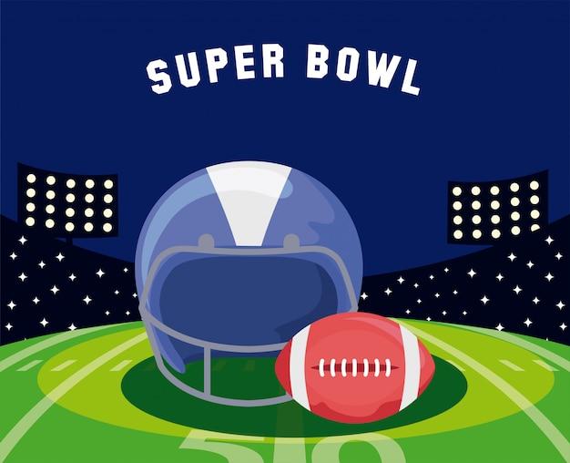 Super bowl casco y pelota sobre campo ilustración