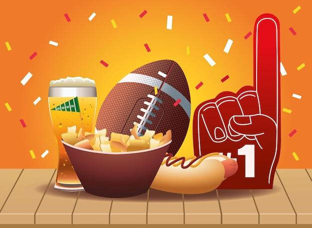 Super bowl iconos deportivos de fútbol americano e ilustración de comida rápida