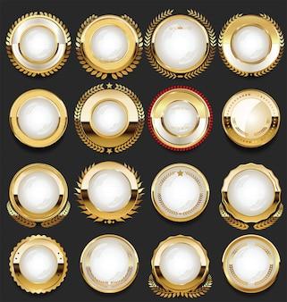 Super brillante colección de insignias vintage retro doradas