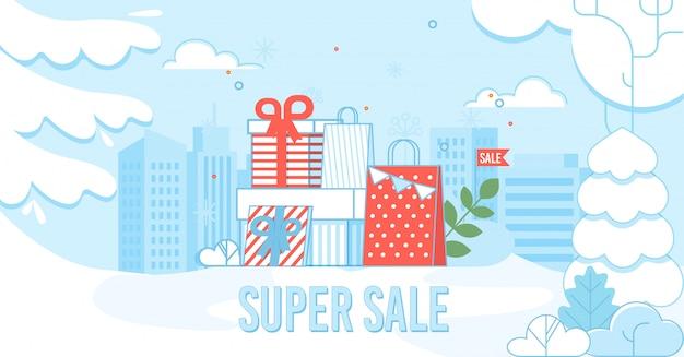 Super cartel de venta con bolsas de compras en el paisaje urbano